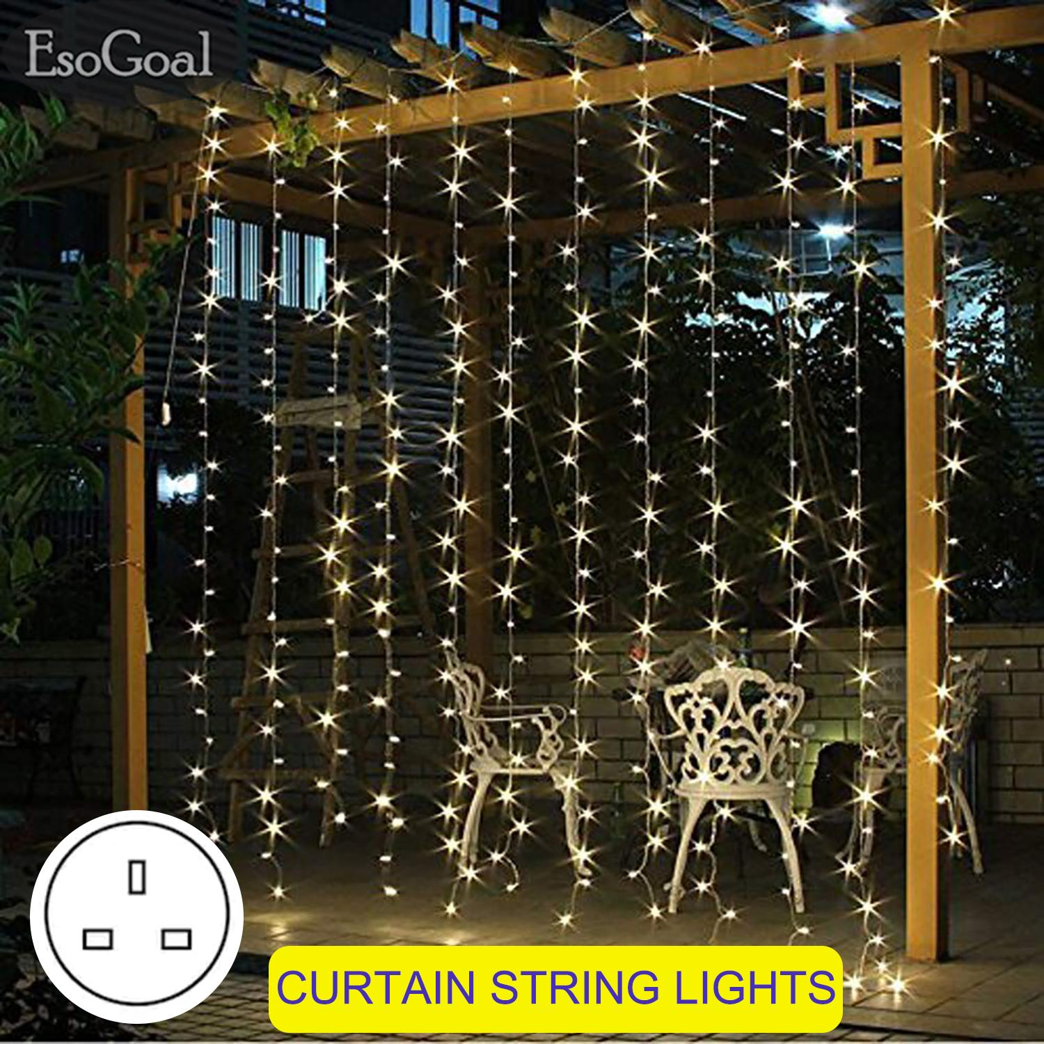 EsoGoal Fairy Lights Curtain Droop LED String Strip Light Icicle Curtain String Lights Window Wall Curtain Decoration Lights for Christmas Xmas Wedding Party Singapore