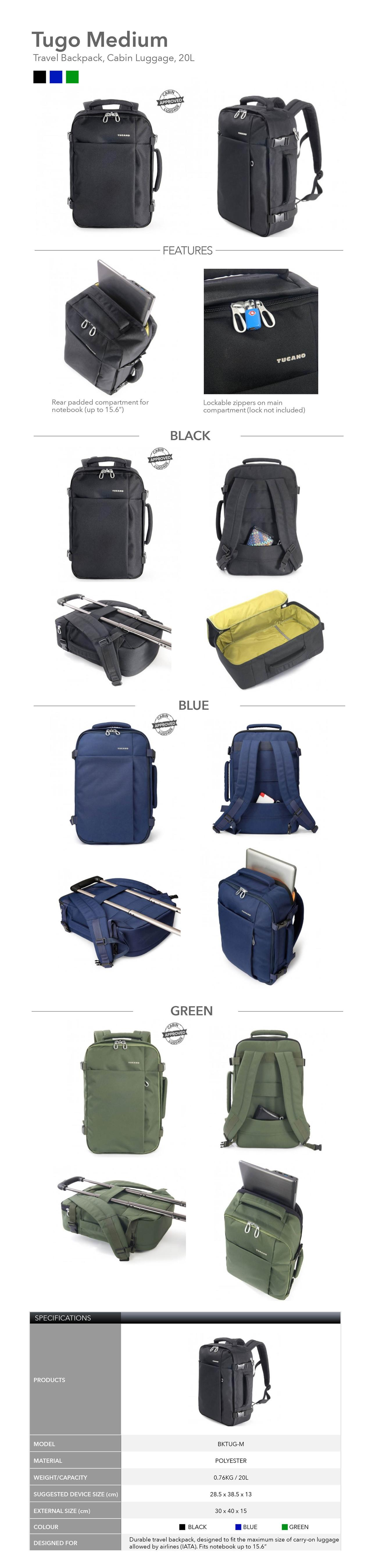 5bb49f943f63 Specifications of Tucano Tugo Medium Travel Backpack