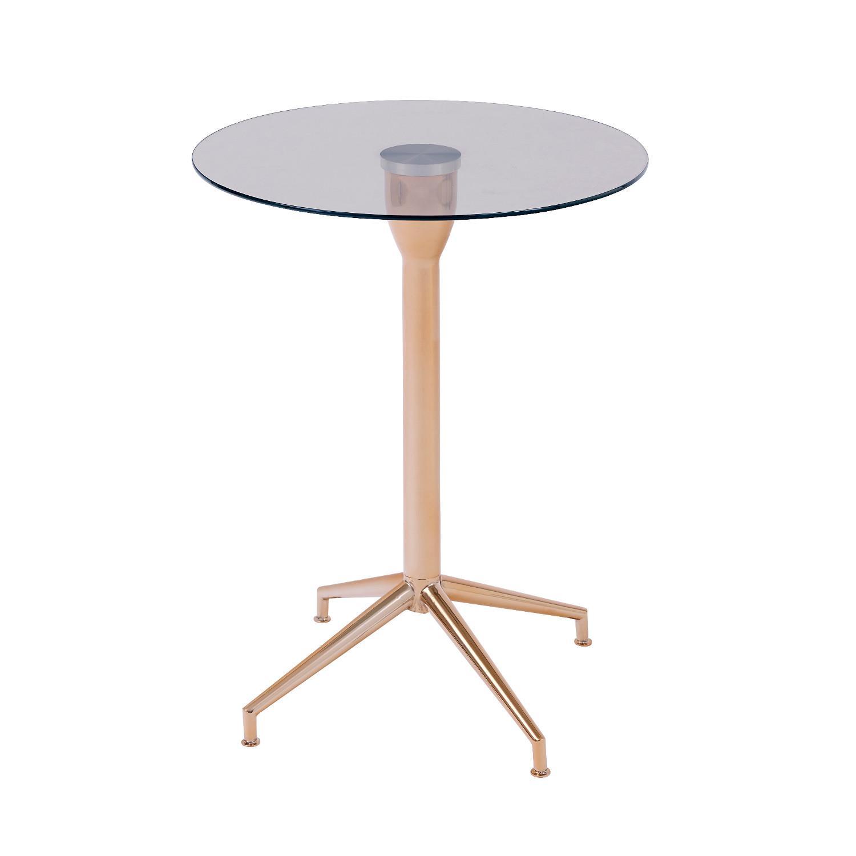 Bo Living SEA Salduba Rose Gold Tempered Glass Side Table