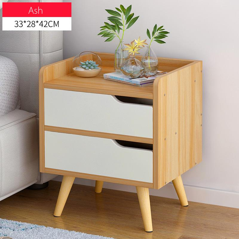 Minimalist  Wooden Bedside Table With Double Drawers(Ash)