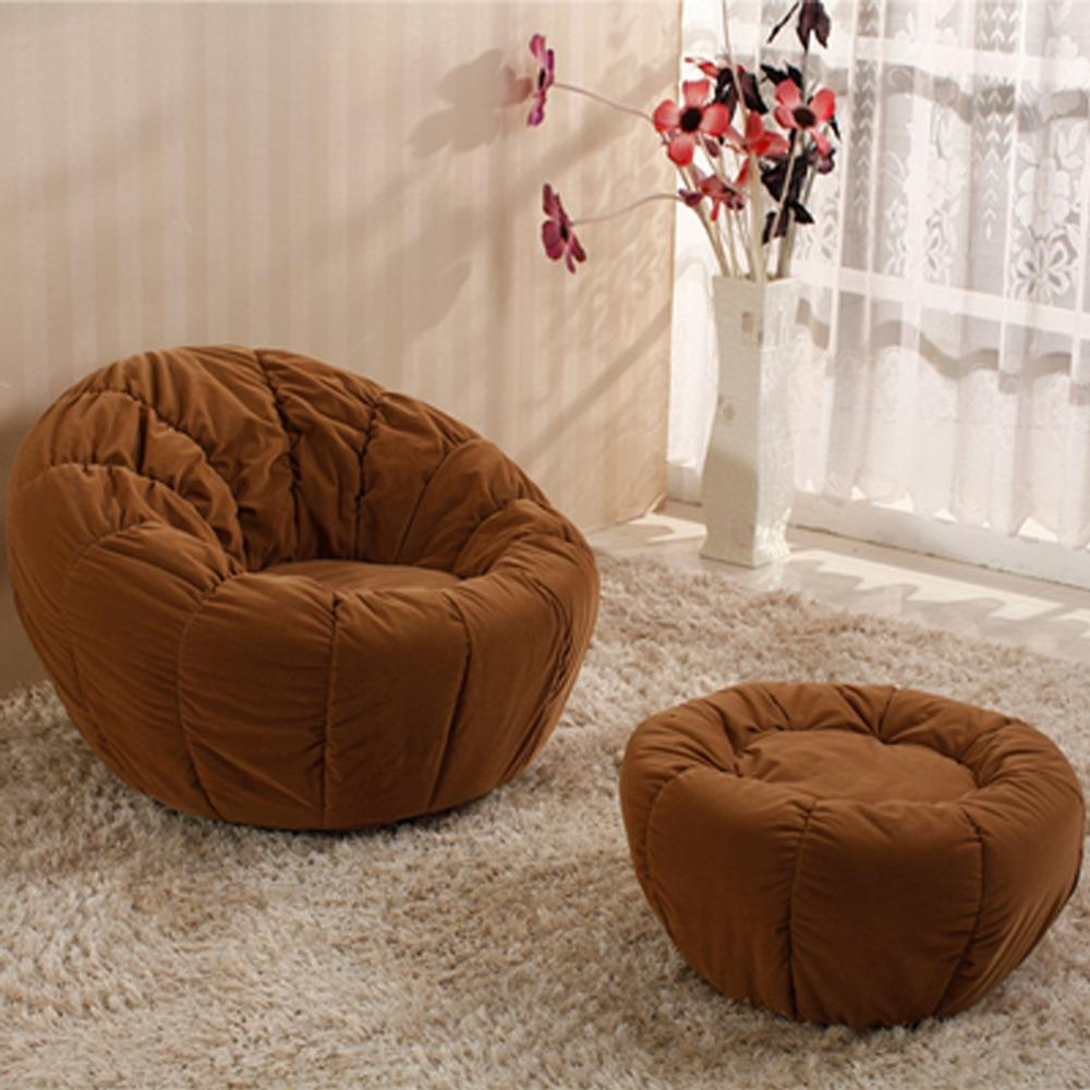 JIJI (Free Installation) Pumpkin Round Lounge Chair With Leg Rest Stool  (Lounge Chair) - Relax Chair / Designer Chair / European style office (SG) Free Delivery