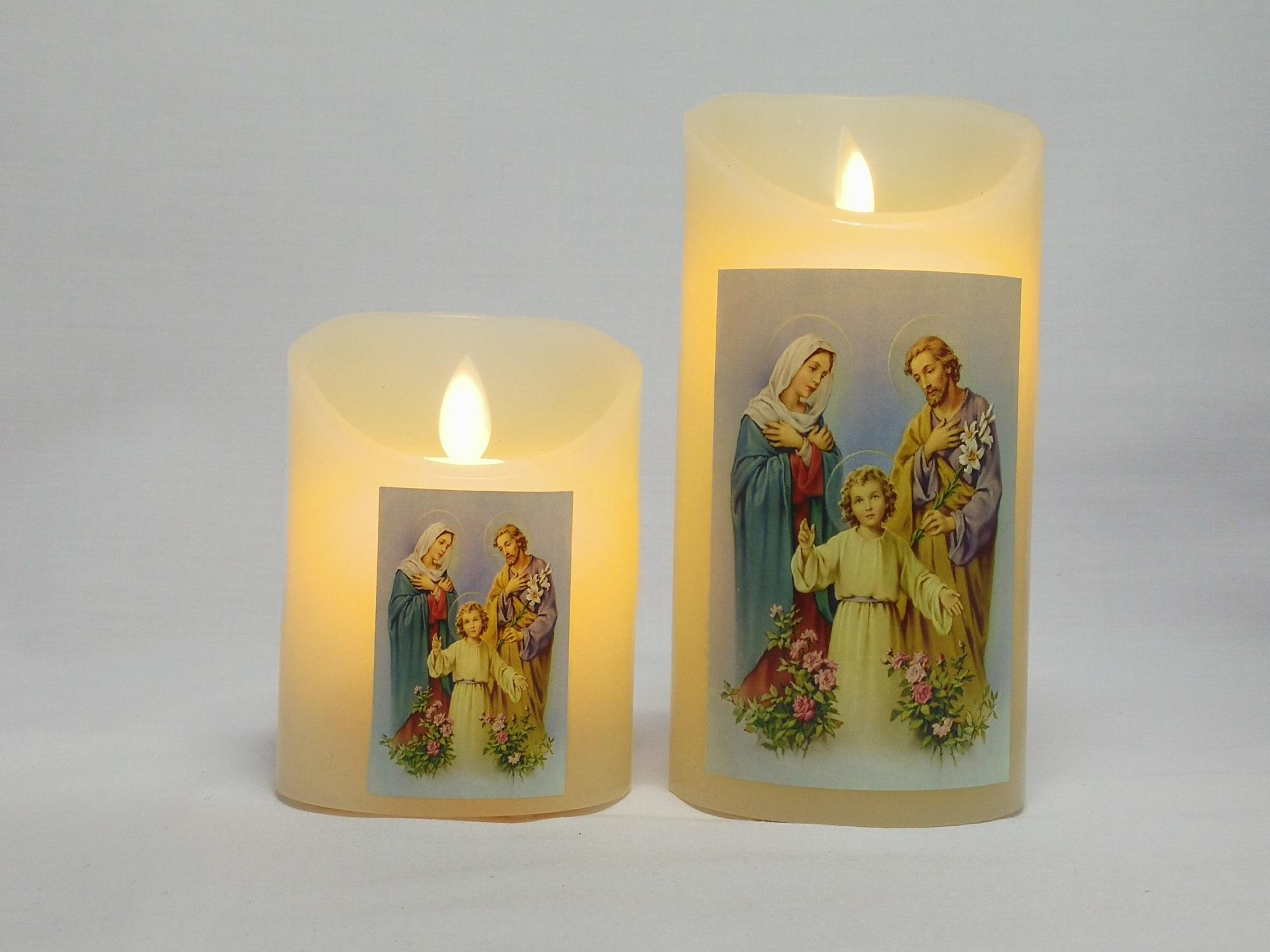 Religious LED Artificial Rechargeable Flameless Candle with Flickering Effect