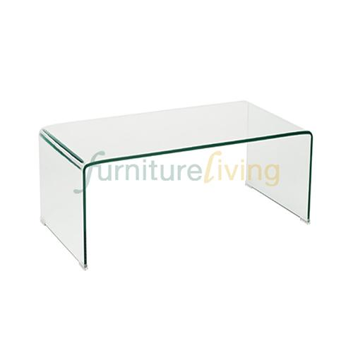 Furniture Living Glass Coffee Table (Clear Glass)