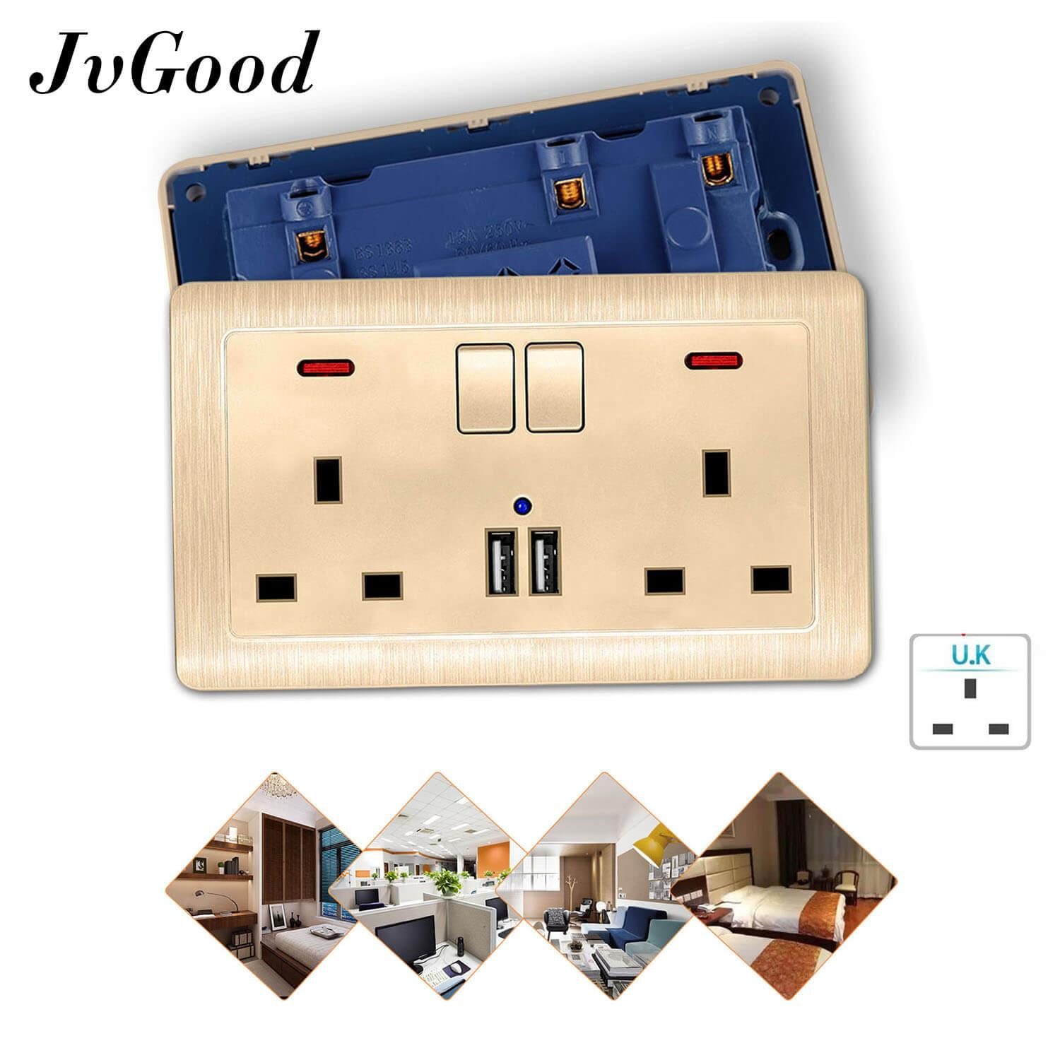 Jvgood Usb Wall Chargers Sockets Double Wall Switched Sockets Panel Wall Plugs Usb Outlets Power Chargers Sockets With 2 Usb Charger Ports By Jvgood.