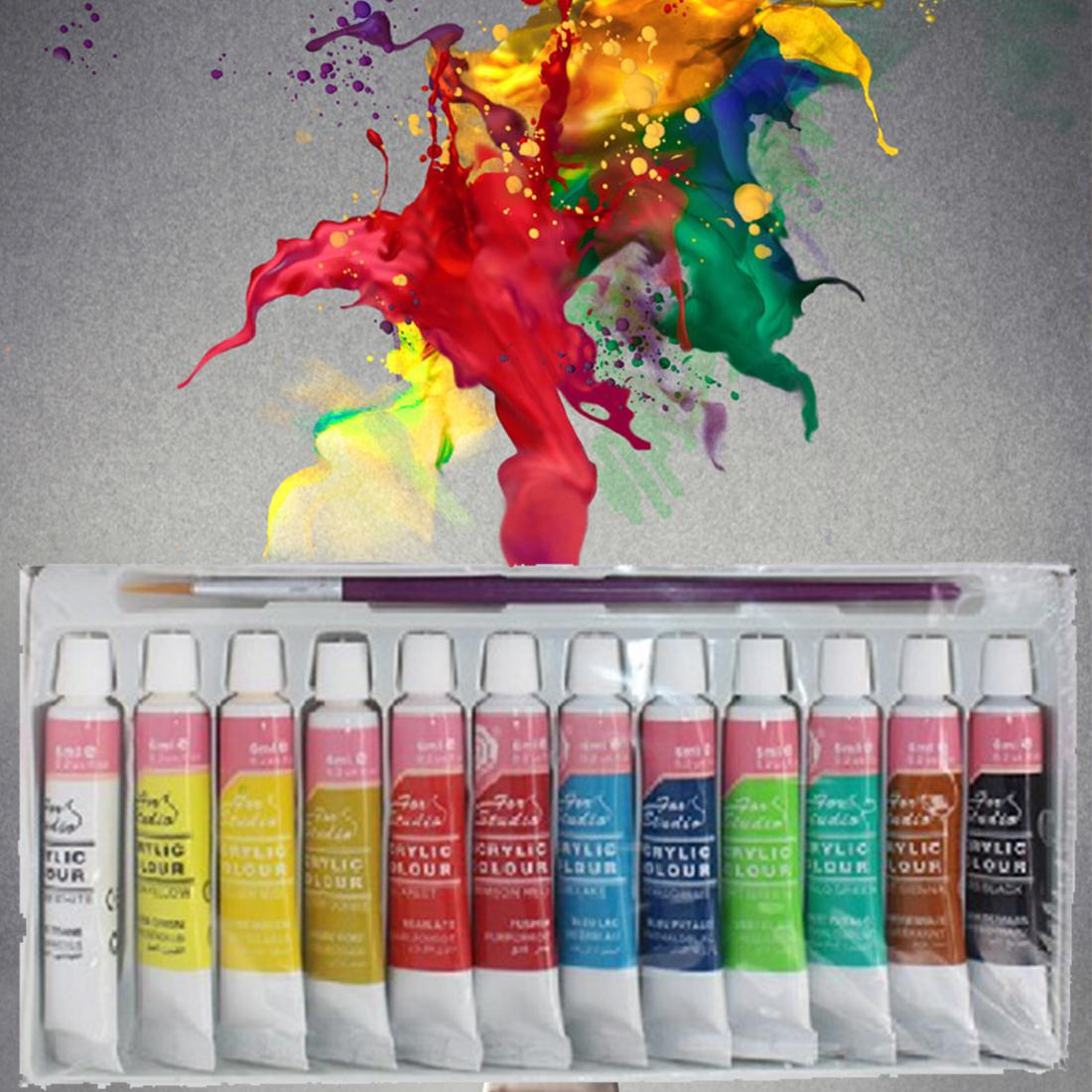 12 Colors Professional Acrylic Paints Set Hand Painted Wall Painting Textile - Intl By Ancient Shop