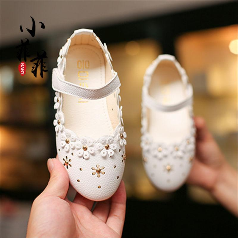 d533cbd7d4ad Girls Peas Leather Shoes 2018 Summer Children s Shoes Korean Style Children  Soft Bottom Princess Shoes Little