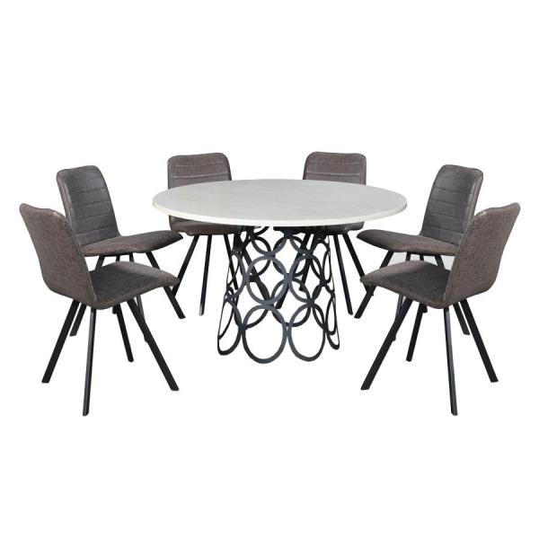 LIVING MALL_Fabrizio Dining Set 1+6_FREE DELIVERY