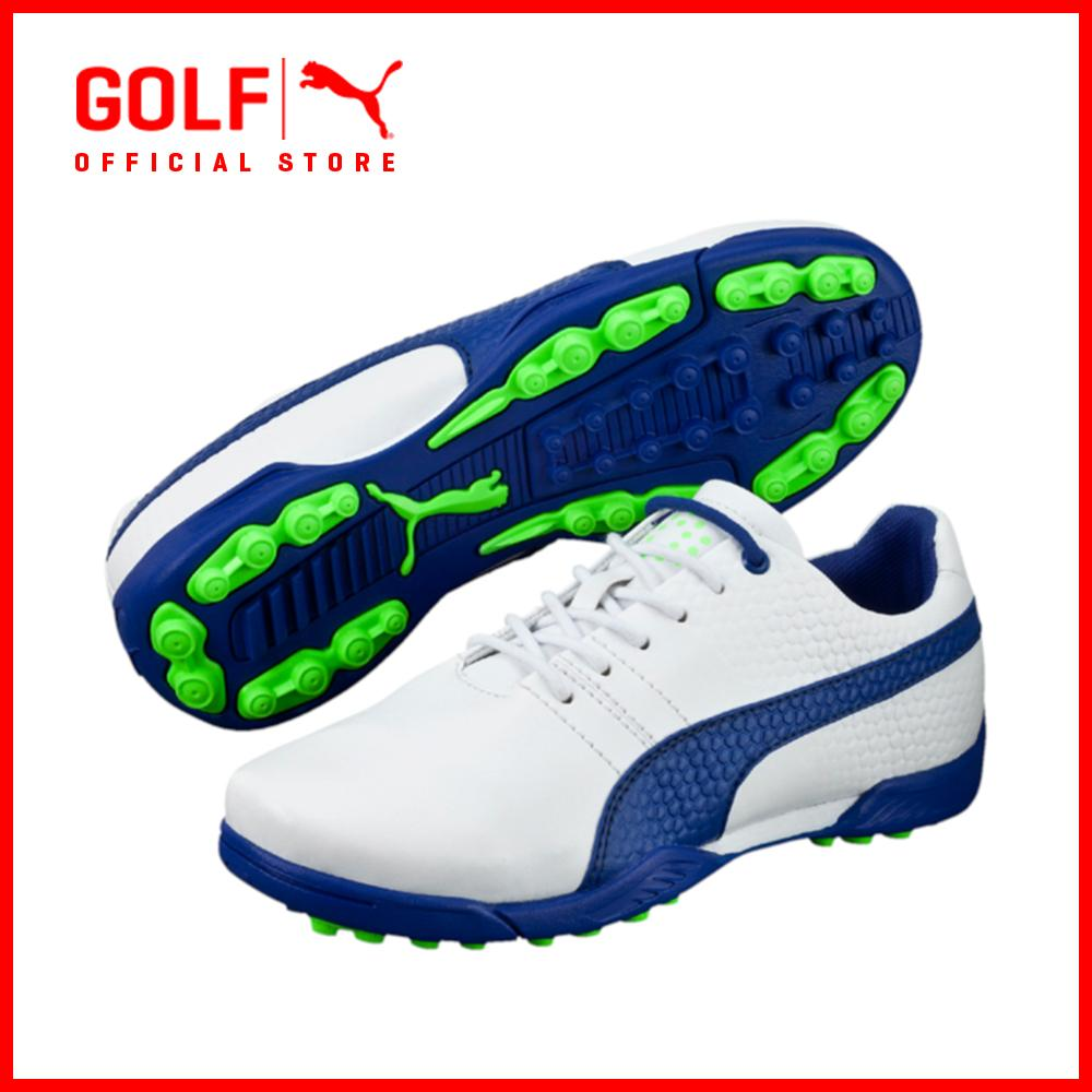 Puma Golf Kids Titantour V2 Jr. Footwear - White-Surf The Web-Green Gecko By Puma Golf Official Store.