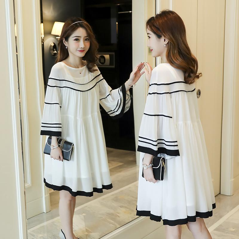b053361d2b9ba 2018 Maternity Clothes New Products Spring And Summer Fashion Large Size Bell  Sleeve Solid Color White