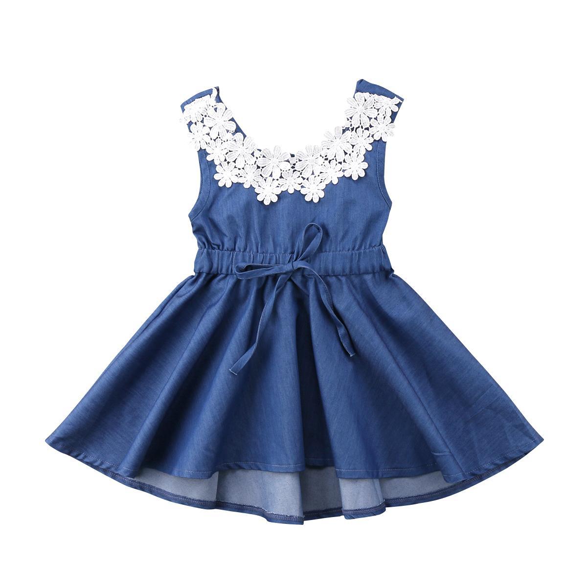 d723ca97c6 Adorable Toddler Kids Baby Girls Lace Floral Denim Princess Party Dress  Sundress Solid Lace Sleeveless Children Girl Dresses