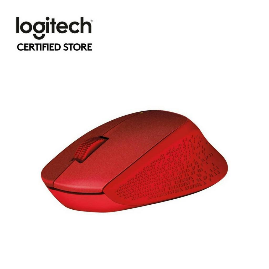 Logitech M331 Red Wireless Silent Plus Mouse with Rubber Grip (No Click Sound)