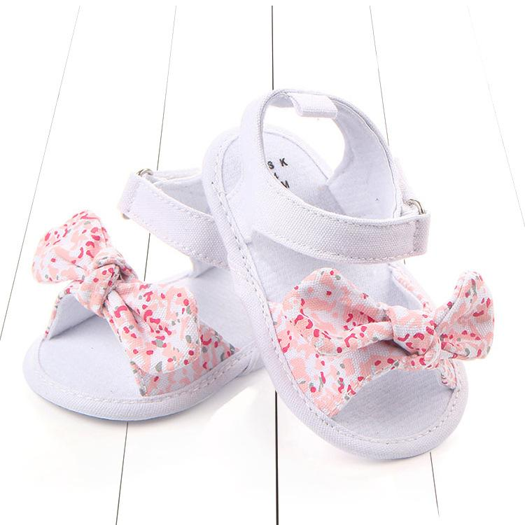 5aa8cbcd21f9 Girl s pre-walkers anti-slip floral bow knot cotton sandals 0 - 12 months