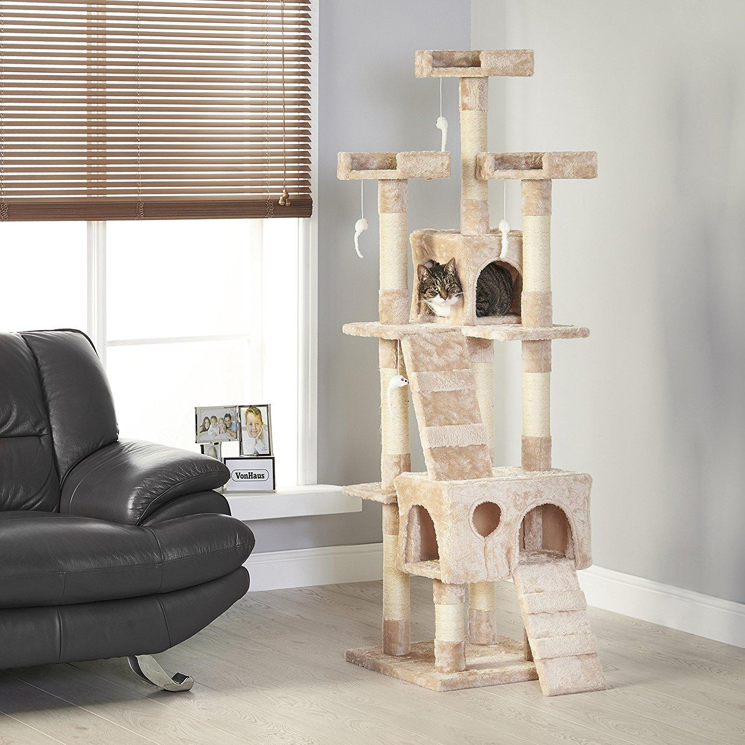 170cm Biege Cat / Kitten Treehouse - Scratch Post Condo By Warehousesggroup.