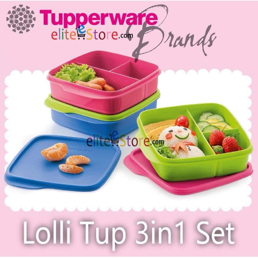 Review Tupperware Lolli Tup Lunch Box With Divider Blue Pink Green Stackable Picnic Food Storage Singapore