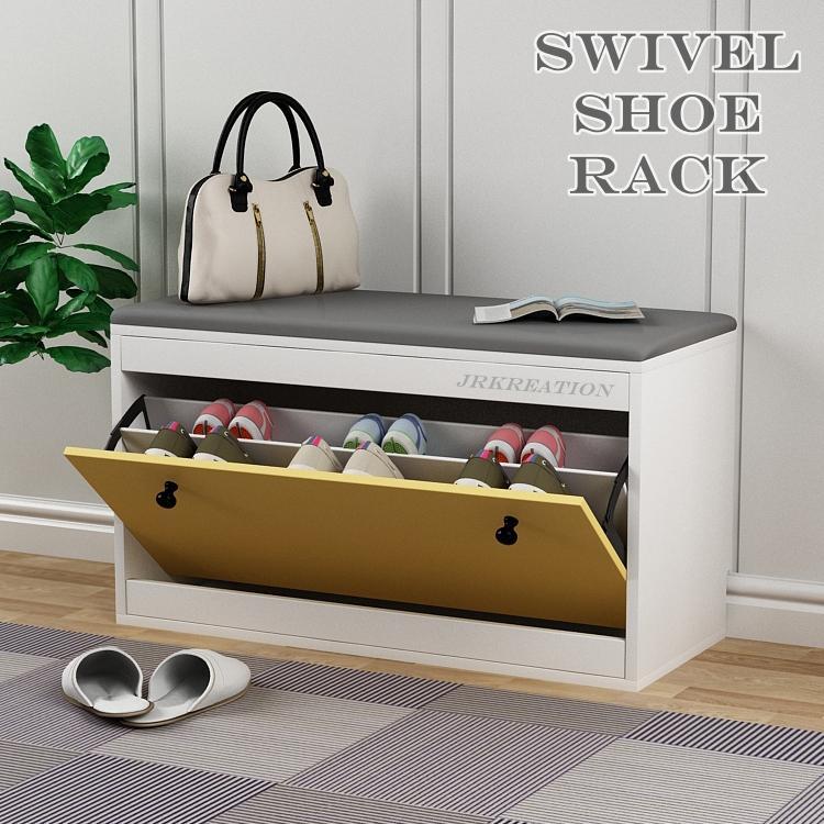 Scandinavian Swivel Swing Shoe rack with cushion seat