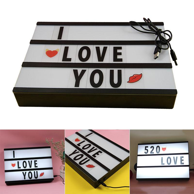 ABH A4 LED Lightbox DIY Message Box Cinema Letter Lamp+96 Cards for Home Decor Birthday Party Singapore