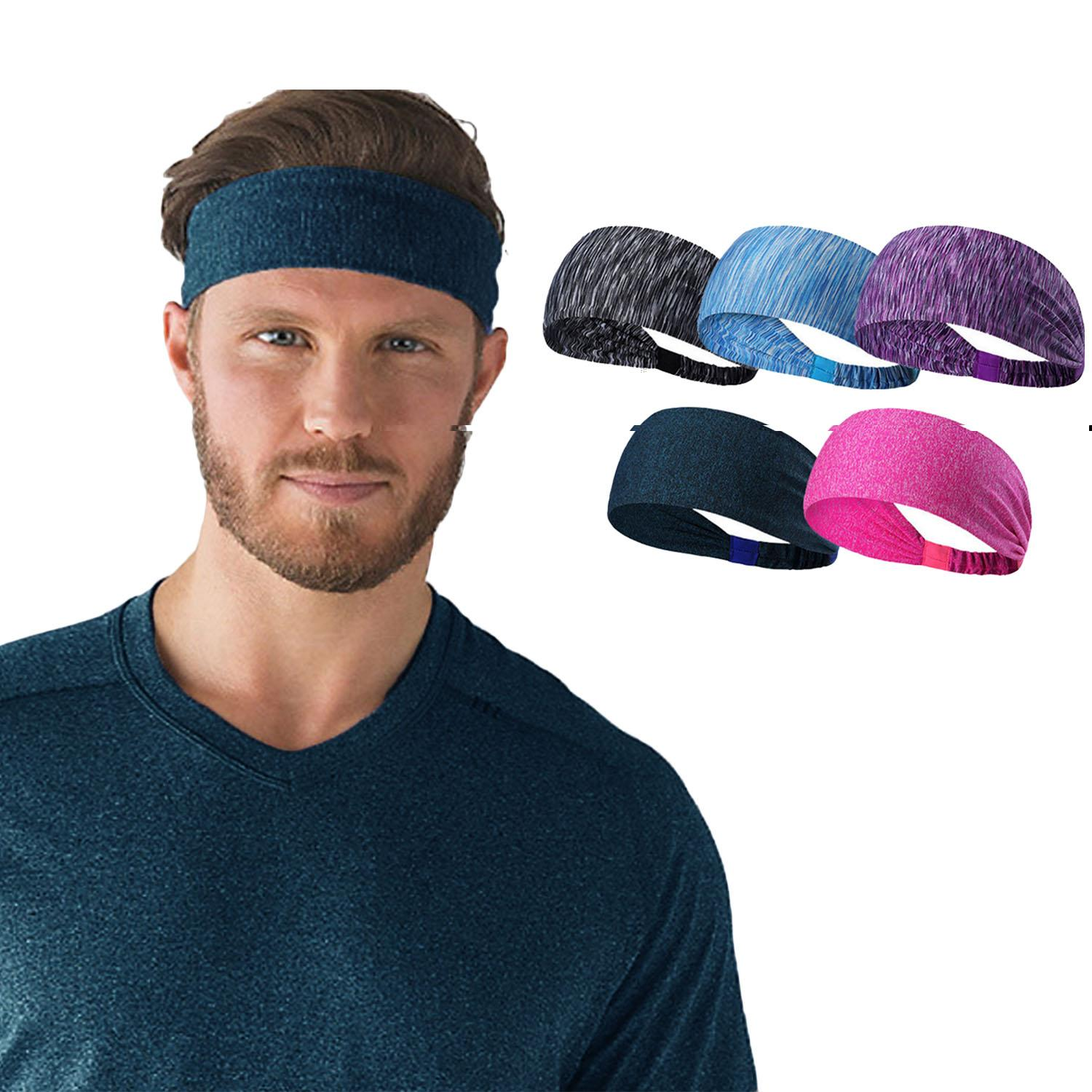 5 Pcs Assorted Colors Unisex Men Women Elastic Moisture Wicking Headband Sweatbands Sports Workout Sweat Band For Yoga Cycling Running Fitness Exercise By Duha.