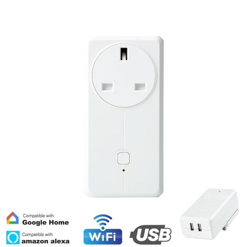 [SG Seller] Wifi Smart Plug with 2 USB Port, [1 AC] [2 USB Ports] [No Hub Required] [UK SG Plug] Wireless Remote Control Smart Wall Socket With Dual USB Ports, Compatible With Amazon Alexa Google Home Automation [Local Warranty]