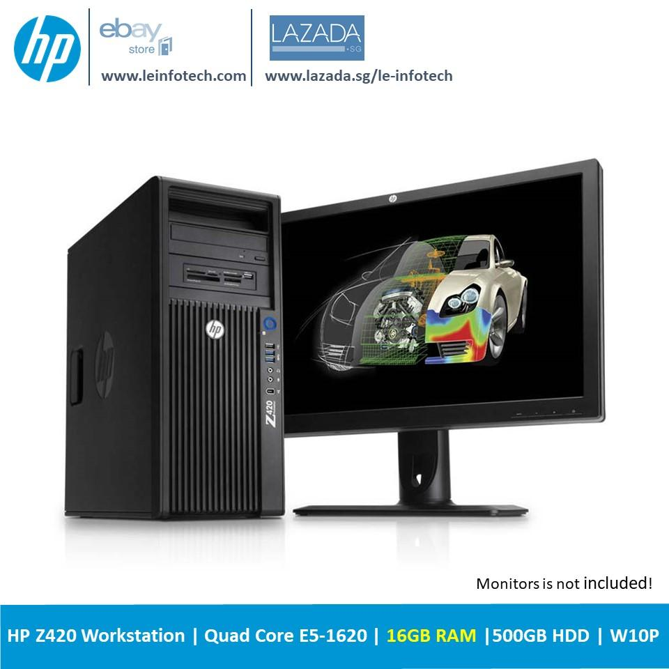 Hp Z420 Tower Workstation Intel Xeon Quad Core E5 1620 3 6Ghz 16Gb Ddr3 500Gb Sata Hdd Nvs 300 Win 10 Pro Used Shop