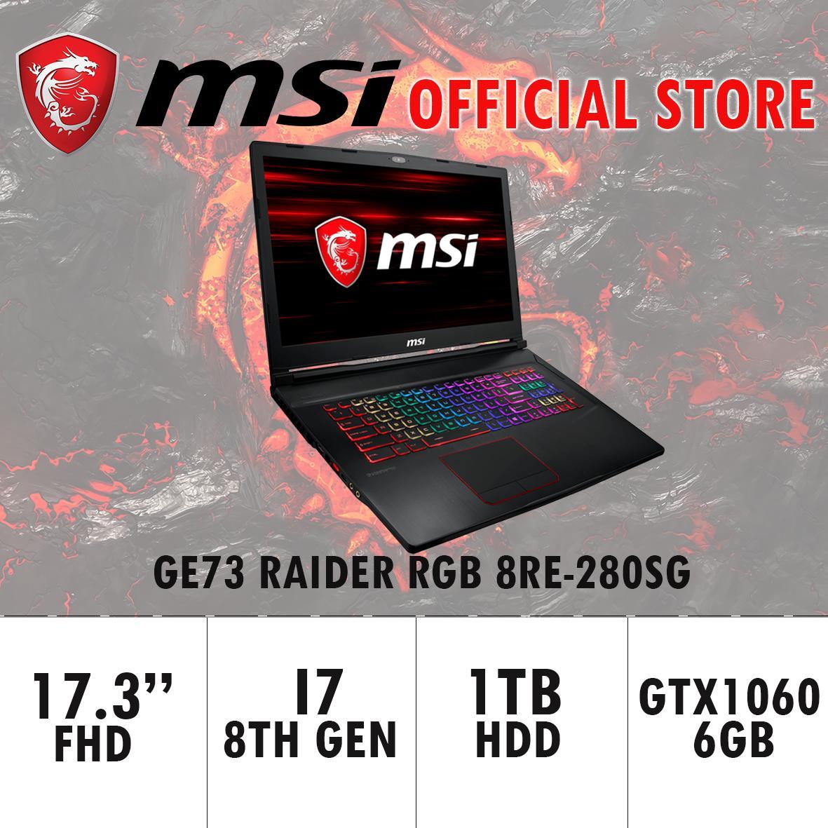 MSI GE73 Raider RGB 8RE-280SG (I7-8750H/16GB DDR4/256GB SSD+1TB HDD 7200RPM/6GB NVIDIA GTX1060) GAMING LAPTOP