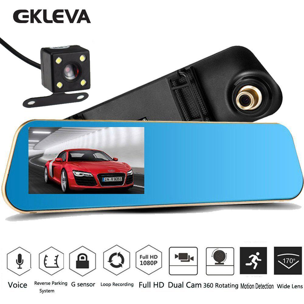 Car Video Recorder Full Hd 1080P Car Video Camera With Dual Lens For Vehicles Front Rearview Mirror Car Dvr Dash Cam With Reverse Parking System Rear Cam With Led Night Vision Waterproof Shop
