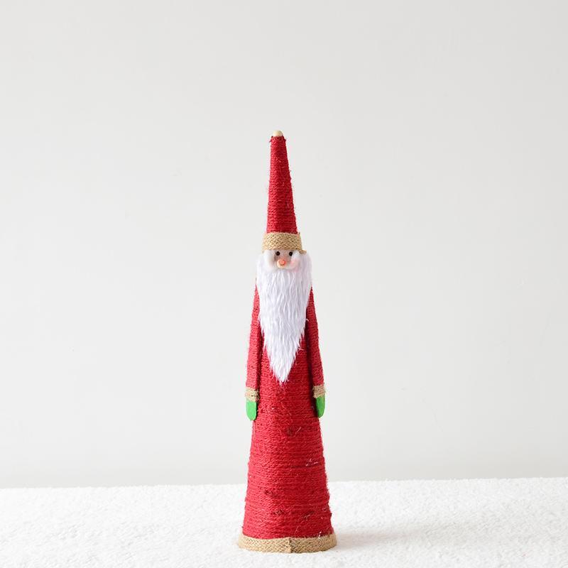 Happy. American Village Vintage Handmade Hemp Rope Crafts Santa Claus Desktop Ornaments Christmas Decorations
