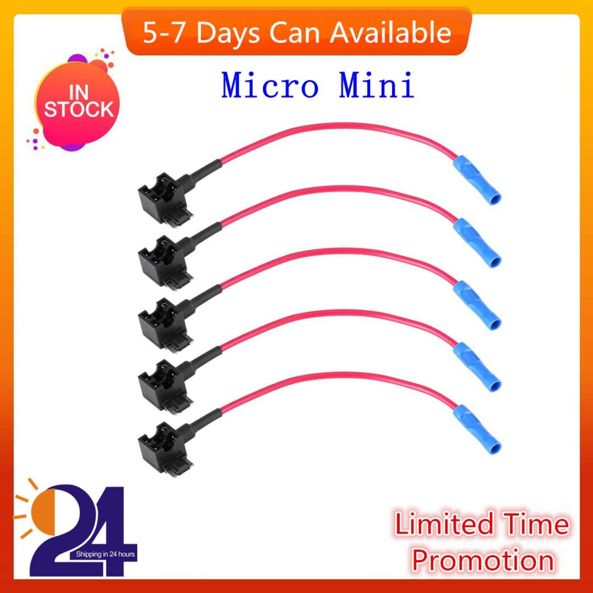 5pcs Car Auto Circuit Fuse Tap Adapters Blade Fuses Holder For Easy & Safe Use (micro Mini Type) - Intl By 1buycart.