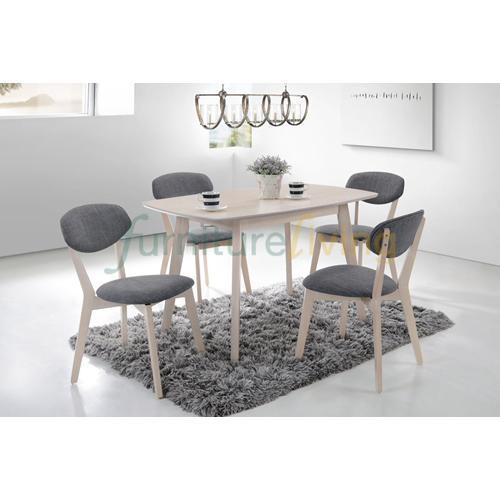 Furniture Living 1+4 Wooden Dining Set (White Wash)