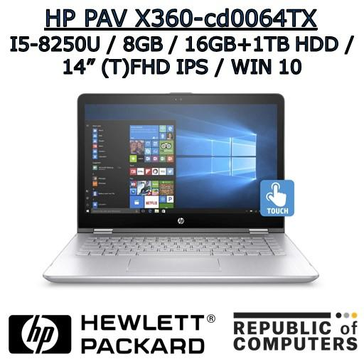 HP PAVILION X360 14-cd0064TX I5-8250U / 8GB / 16GB+1TB HDD / 2GB NVIDIA / 14 FHD IPS / WINDOW 10