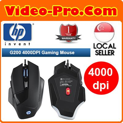HP G200 Ergonomic Design Cool Exterior 4 LED Light Wired 4000DPI Gaming Mouse Omron Switches