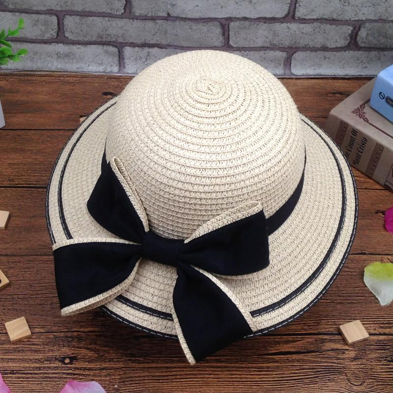 813156fb02d583 Summer Bow Parent And Child Children's Straw Hat Beach Seaside Tourism  Holiday Girls Beach Hat Sun
