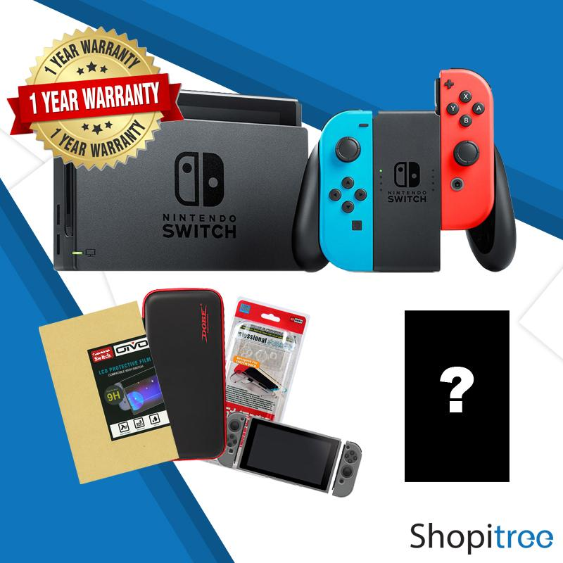 Nintendo Switch Console Bundle + 1 Year Local Warranty (game + Tempered Glass Screen Protector + Crystal Case + Carry Case) By Shopitree (capitaland Merchant).