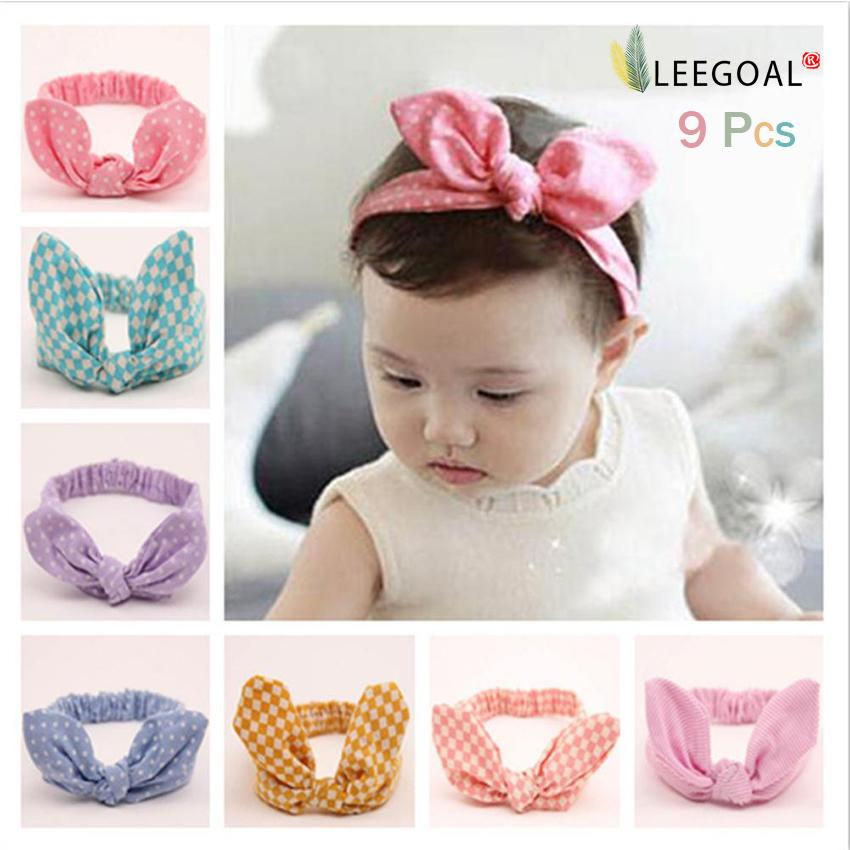 leegoal 9x Baby Girls Rabbit Ear Headband Hair Bow Tie Ponytail Holder Band - intl