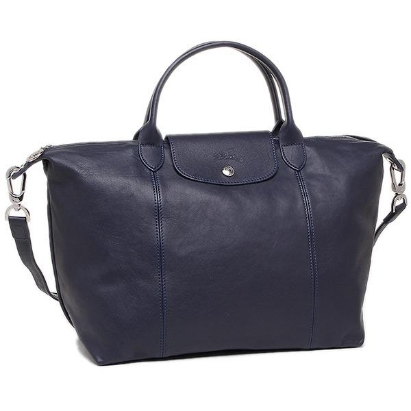 Sale Longchamp 1515 Le Pliage Cuir Medium Satchel Navy Blue Online On Singapore