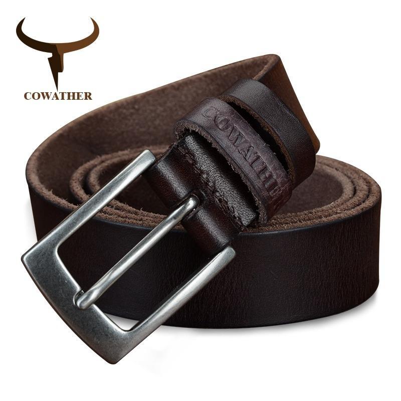 Sale Cowather Men S 100 Top Cow Genuine Leather Men S Pin Buckle Belts 2017 Strap Male Pin Buckle Hot Design Jeans Belt For Male Brown Xxs Xxl Intl