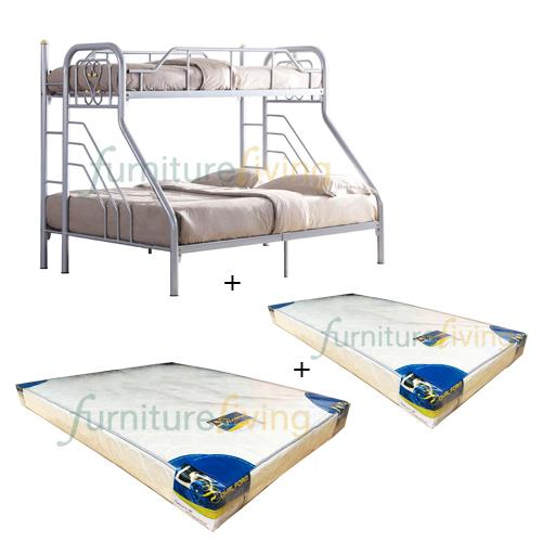 Furniture Living Metal Bunk Bedframe (Silver) + Royal Foam Mattress (Single-6inch) + Royal Foam Mattress (Queen-6inch)