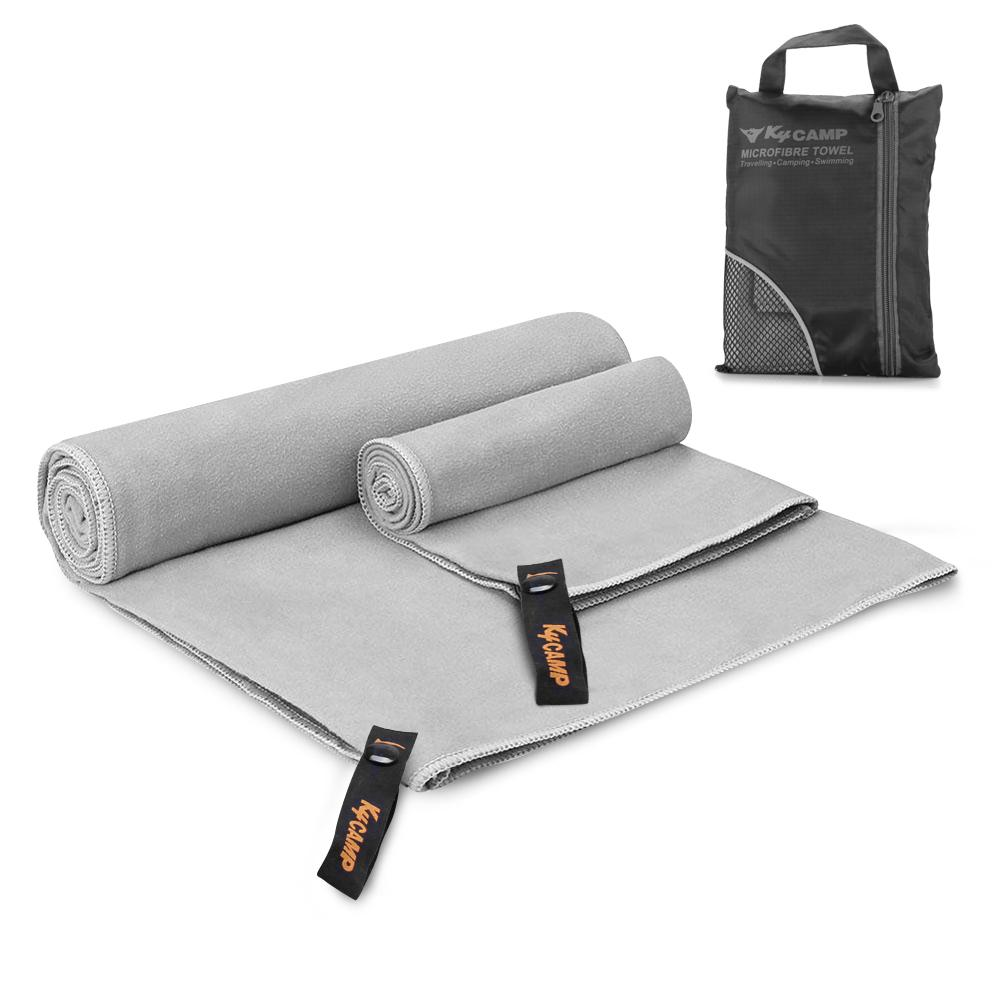 Trait-Tech 2pcs Set Quick Dry Microfiber Absorbent Sports Towel + Bath Towel With Mesh Case For Exercise Swimming Yoga Climbing Travel By Trait-Tech Trade Center.