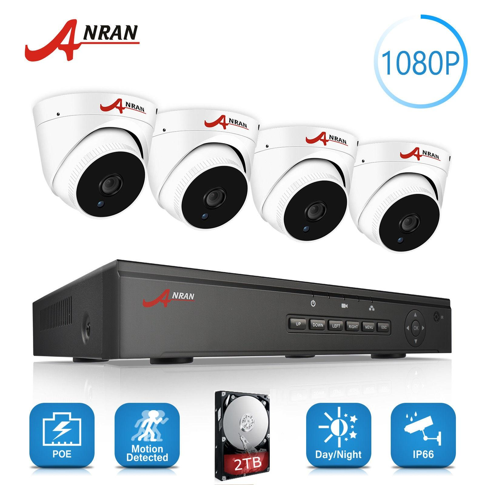 Buy Cheap Anran 4Ch Nvr 48V Poe Cctv System Onvif P2P 1080P Hd H 264 Ir Night Vision Outdoor Security Poe Ip Camera Kit