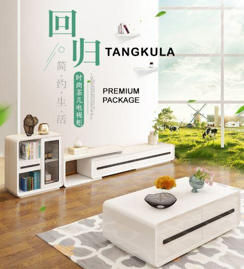JIJI Tangkula Modern Piano White Living Room Package (FREE Installation) - Furniture / Coffee Table / TV Console (SG)
