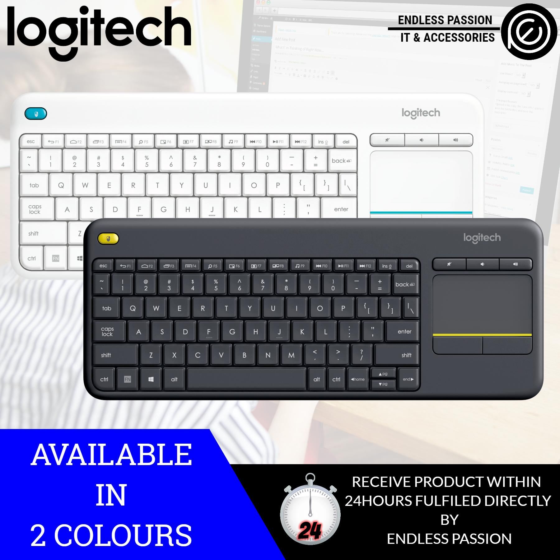 Logitech K400 Plus Wireless Touch TV Keyboard with Easy Media Control and Built-In Touchpad (Black / White) Singapore