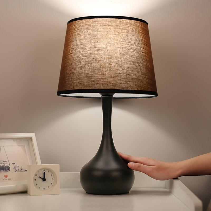 LED Bedroom Touch Switch Bedside Lamp Creative Warm Light Study Living Room Eye Protection Learning Desk Lamp Nursing Lamp European Style Modern Desk Lamp With Warm Light Bulb - intl