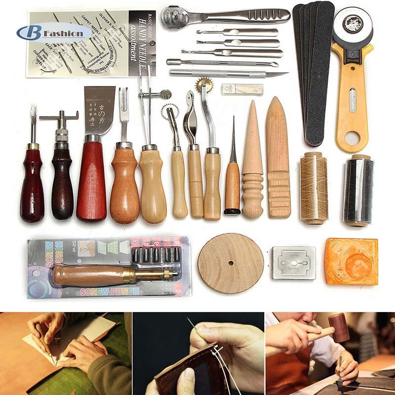 B-F 37 Pcs Leather Craft Tools Kit Hand Sewing Stitching Punch Carving Saddle Groover