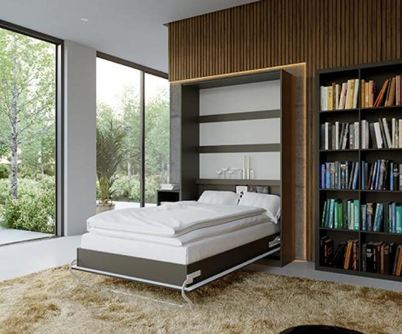 Murphy Wall Bed/ Super Single 120x200cm/ Vertical/ Anthracite front/ Curve leg