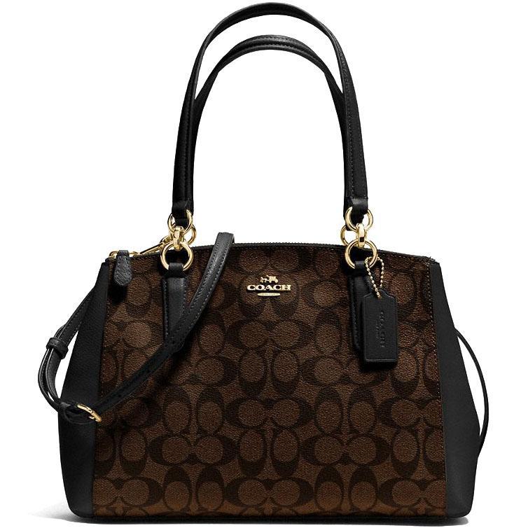 Coach Small Christie Carryall Handbag Black   Brown   F58291 63aab8d328b8f