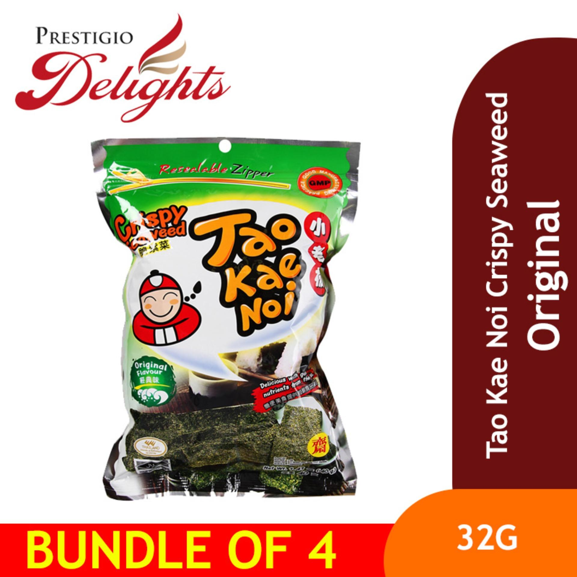 Tao Kae Noi Crispy Seaweed - 32g Original Bundle Of 4 By Prestigio Delights.