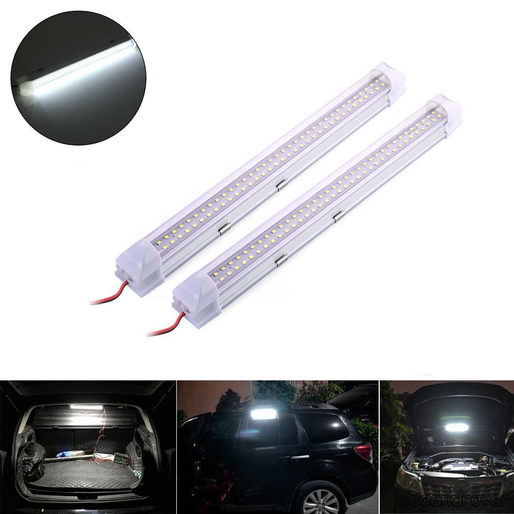 2 Pcs 12V 72 LED Car Interior White Strip Lights Bar Lamp Van Caravan ON OFF Switch