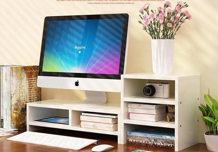 PC Monitor & Desktop Organiser with Extended Shelf