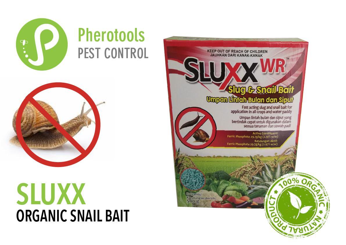 Sluxx Organic  Slug and Snail Pellets. Water Resistant. Organic, Environmentally friendly slug and snail control. As used by Botanic Gardens, Singapore