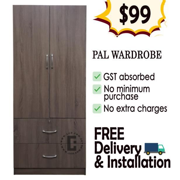 Pal 2 door Wardrobe (dark oak colour)