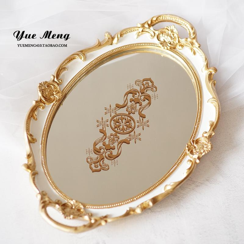 Oval European Style Vintage Lace Mirror Phnom Penh Tray Decoration Marriage Palace Luxury Varved Dessert Tea Plate